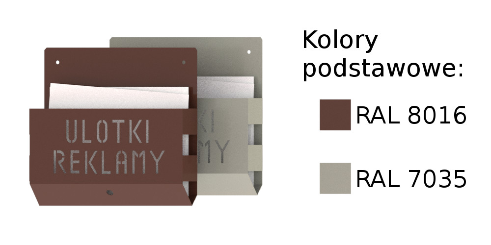 Kolory podstawowe naszych pojemników na ulotki: RAL 80116 i RAL 7035